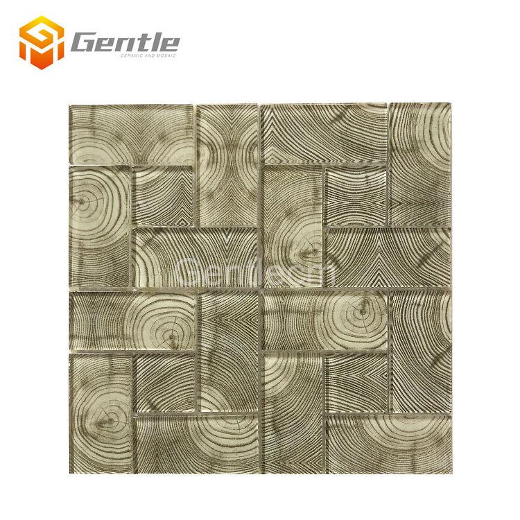 Phòng khách trang trí tường backsplash ngói 3D máy in phun gỗ hạt 6mm thủy tinh màu nâu gạch mosaic