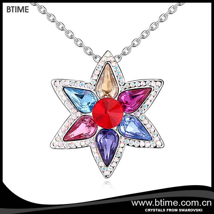 Flor pingente de colar de cristais de Swarovski pingente de moda jóias