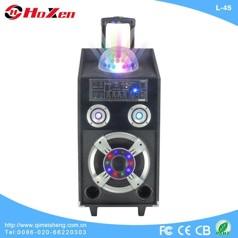 Venta caliente etapa activa altavoces con hermosa discoteca light portable bluetooth ce, rhos, fcc l-45