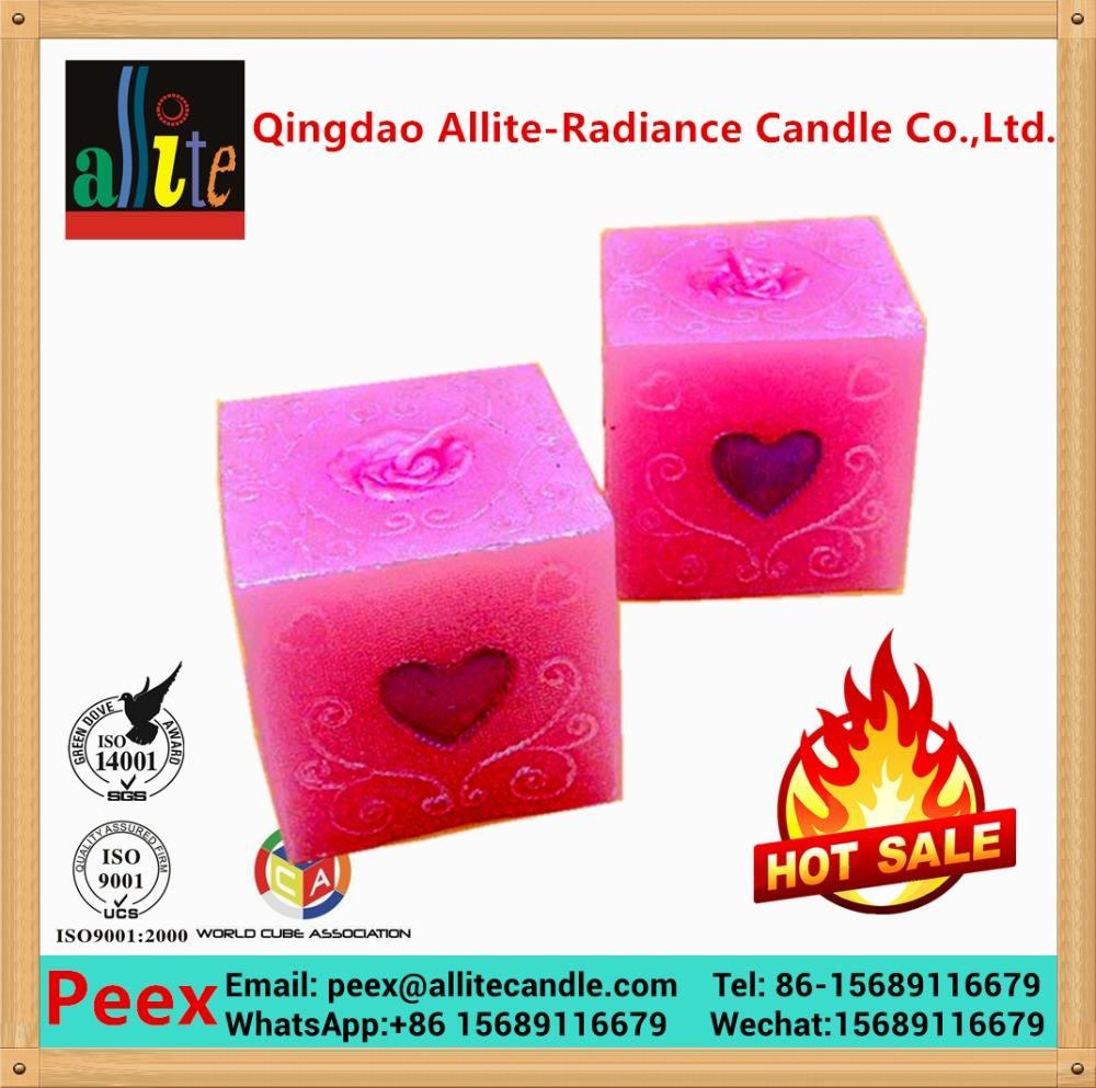 Allite ручной розовое сердце и любовь алмазы куб стиль день рождения <span class=keywords><strong>свечи</strong></span>
