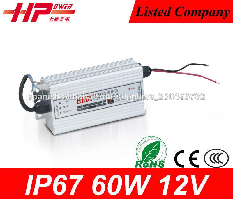 Tensión constante CE de salida única ac dc IP67 60W 12V 5A impermeable llevado cambio de fuente de alimentación del modo de