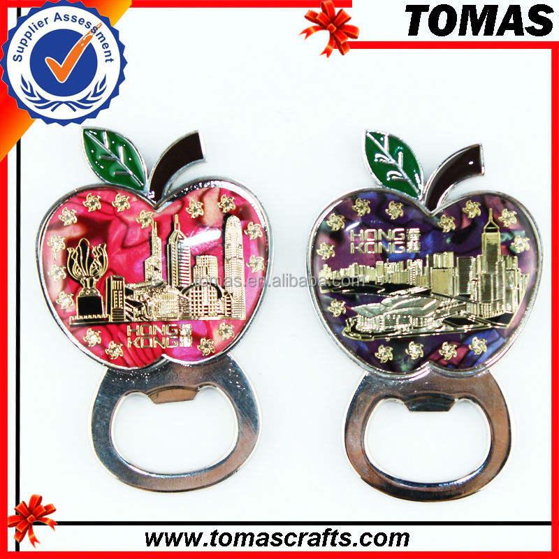 guangzhou ad alta quaity finitura anticata guscio di stampa e paese città souvenir personalizzati metallo frigo magneti