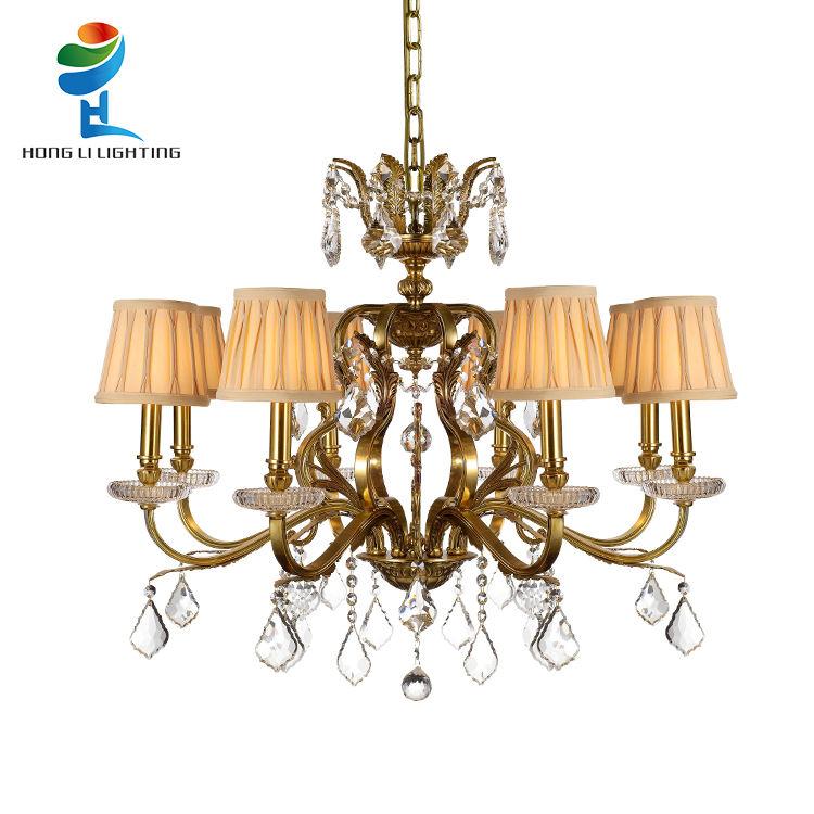 Vendita calda Europea moderna ottone pendente di cristallo di colore di stoffa ombra appeso E14 lampada a sospensione