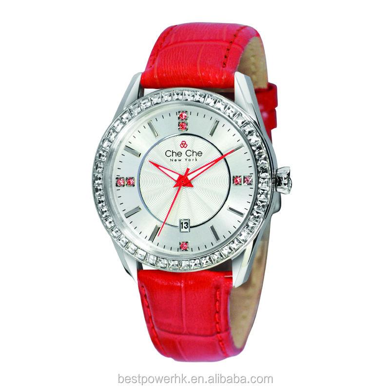 Venta caliente rojo caja redonda reloj del movimiento de japón del reloj del diamante de la correa de cuero genuino