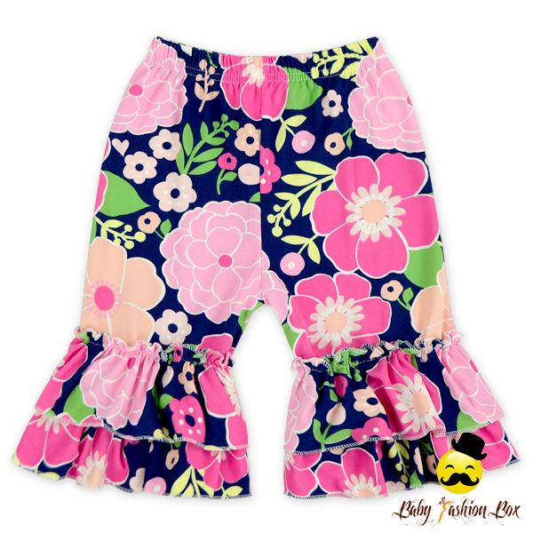 Детей Бутик предмет одежды Летняя Детская рюшами слои Девочка Цветочные Обледенение шорты