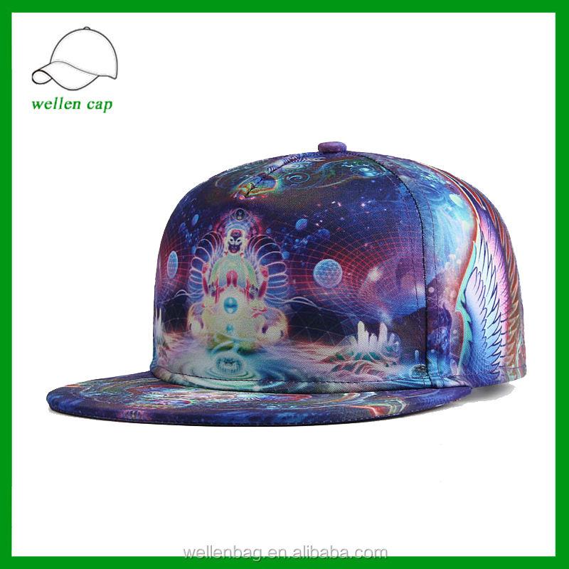 Toptan pamuk özel 5 paneli hip-hop 3D isı tranfer outer space desen snapback kap/şapka