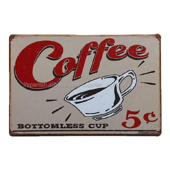 Placa Taza de café Sin Fondo Vintage Cartel de chapa Retro Metal Art Poster Bar pub hogar Decoración de Pared