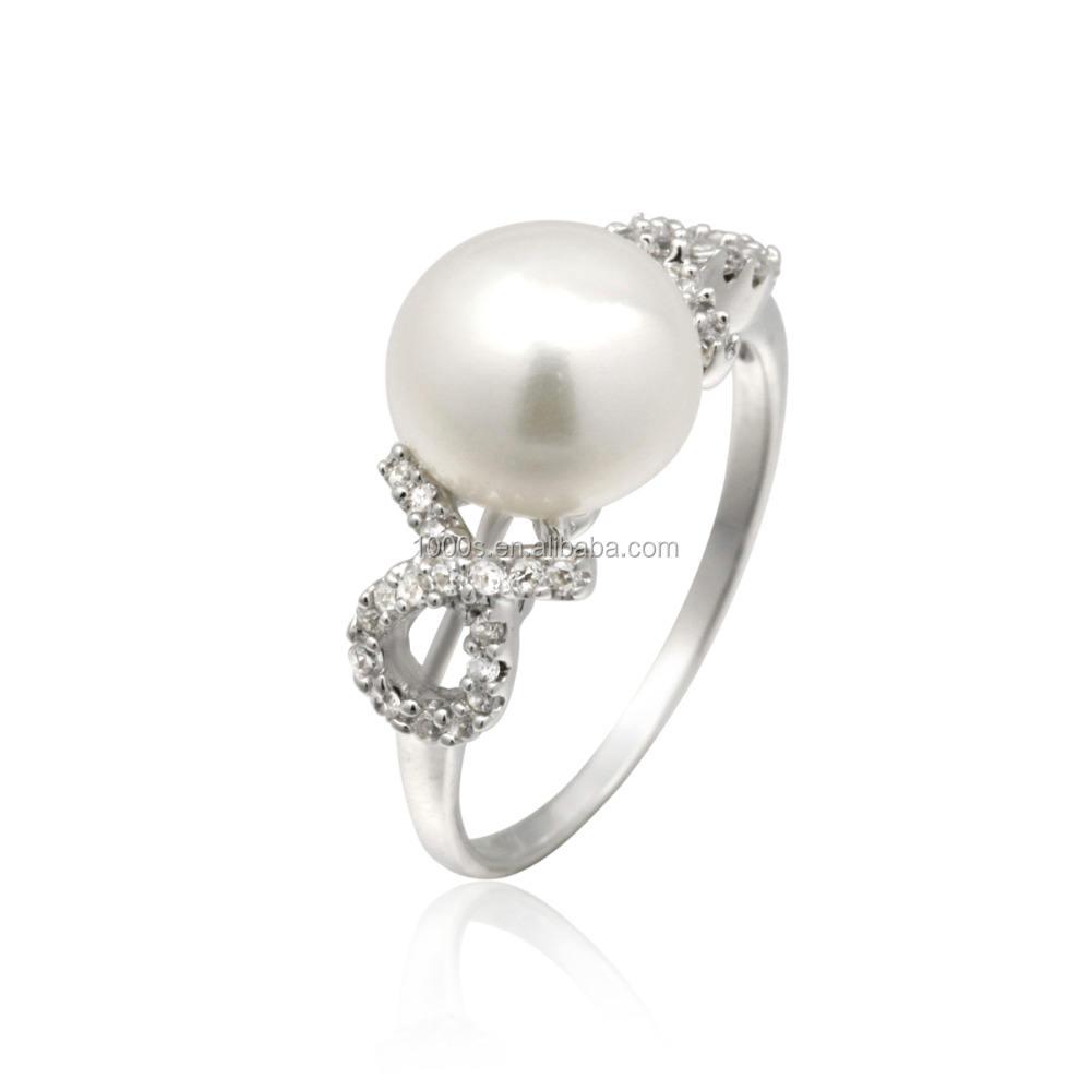 Regalo del día de san valentín 925 anillo elegante de la perla plata