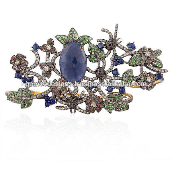 、天然ブルーサファイアの宝石4フィンガーリング、 paveダイヤモンド、 宝石のツァボライトgemcoリング最新のコレクションの宝石