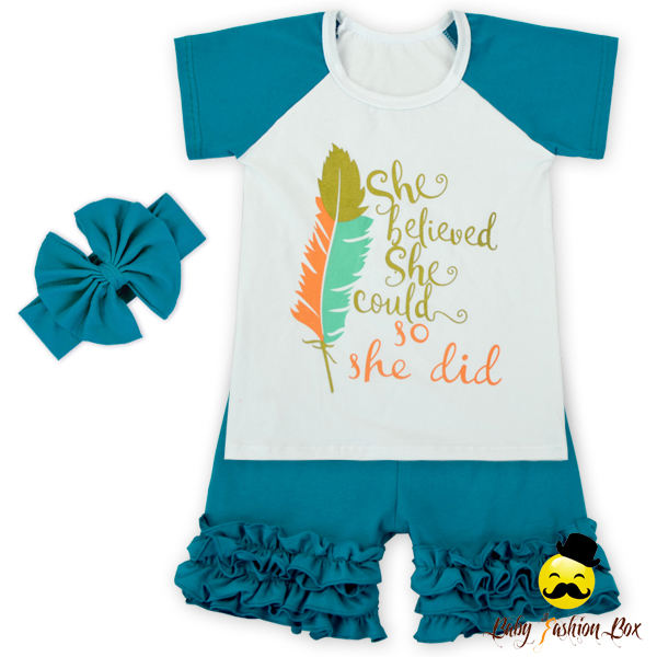 <span class=keywords><strong>بوتيك</strong></span> الطفلة الصيف t-shirt كشكش السراويل اثنان قطعة مجموعة طفل تصميم جديد مخصص