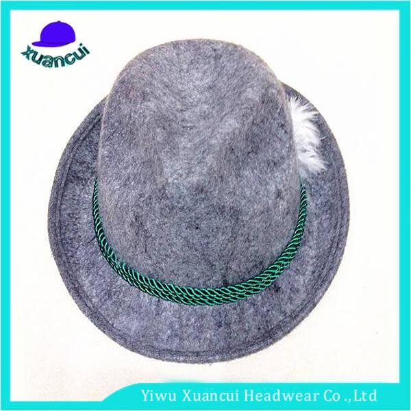 Laine de mode performance chapeau hommes en vrac plume fedora chapeau avec corde décoration