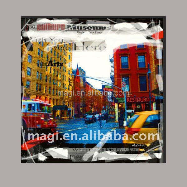 Clásica Marco de menos impreso Paisaje Urbano de Nueva York pintura al óleo sobre lienzo de tela