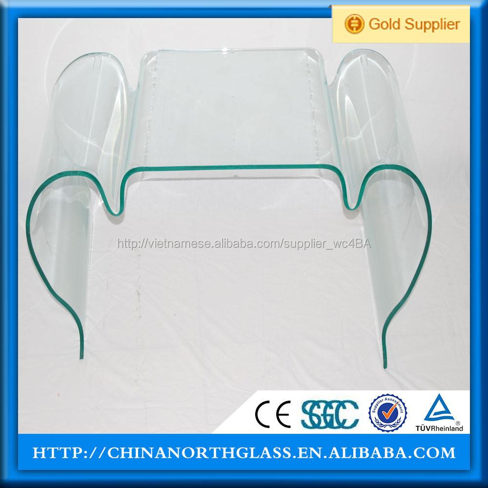 Min bán kính 800 mét cong tempered glass cho tường rèm và cầu thang trường hợp với kích thước 1200 Wát x 2800 mét