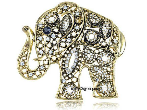 Antique Inspired Golden Indian Rhinestone Embellish Elephant Fashion Pin Brooch(B1348)