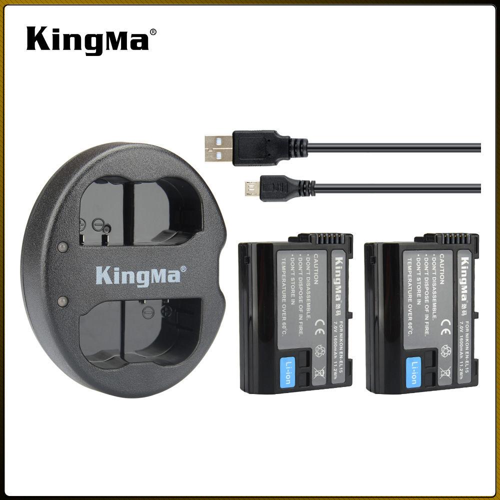 KingMa Portatile Kit Due Pack 1600 mAh Batteria EN-EL15 ENEL15 Batteria con Dual Micro USB Caricabatterie per <span class=keywords><strong>Nikon</strong></span>