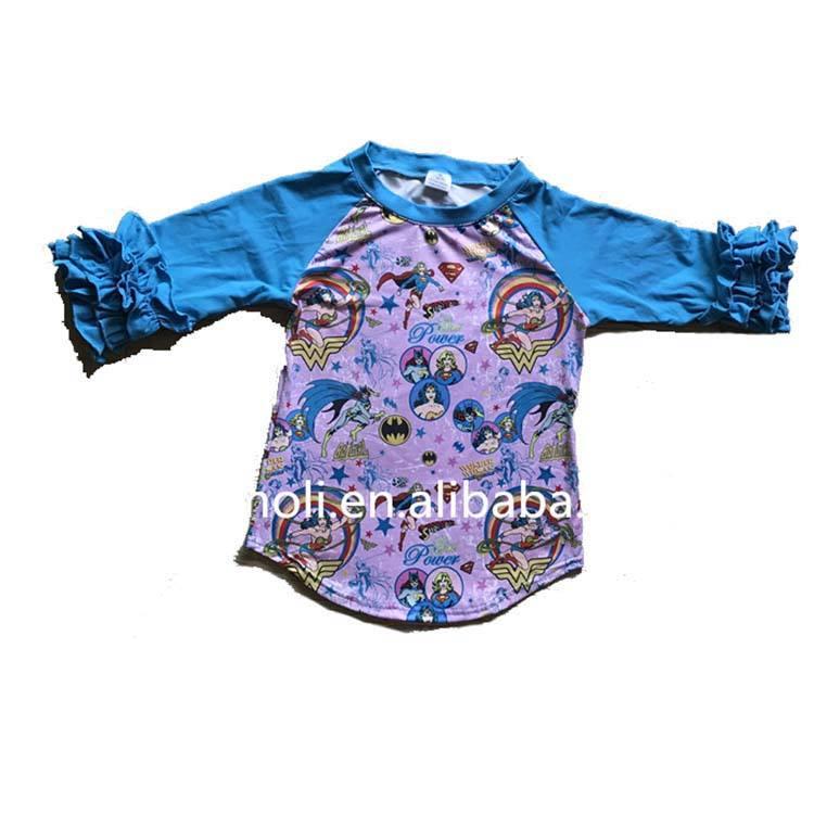Детское платье с рисунком Супергерл; детская футболка; модная футболка с рукавами реглан 3/4 года
