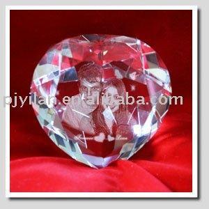 cristal diamon en forma de corazón grabado para la imagen de san valentín de regalo de cristal