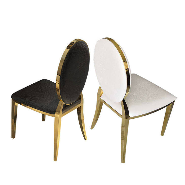Nouveau design style royal chambre d'hôtel marchandises jambes d'or ovale dos velours tufté tapissé par tissu louis médaillon dinant la chaise