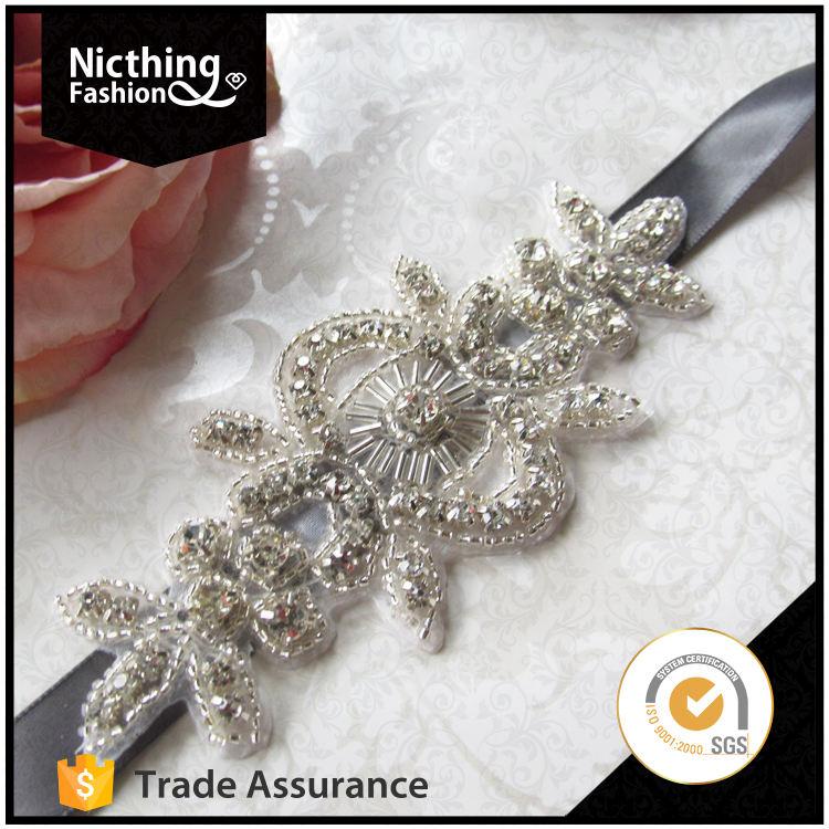 Comercio al por mayor de alta calidad rhinestone applique embellecido sash nupcial para la boda vestido NRA124