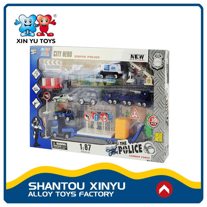 30 UNIDS vehículos policiales paly juego de fundición 1/87 surtidores de china juguetes al por mayor