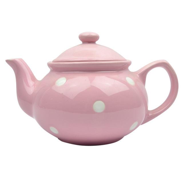 Pink spot design 현대 제 세라믹 주입 닭 teapot 와 필터.