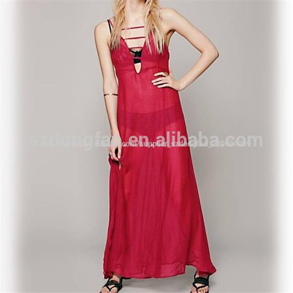 2014 caliente de la moda transparente de color rojo sexy vestido largo