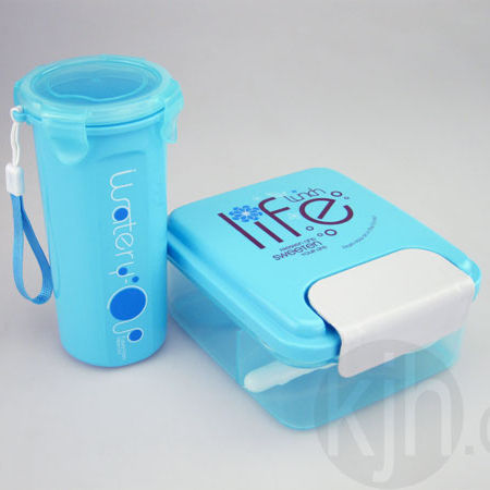 KJH LIVE Wholesale Hot selling promotion school kids sport plastic lunch box set with water bottle