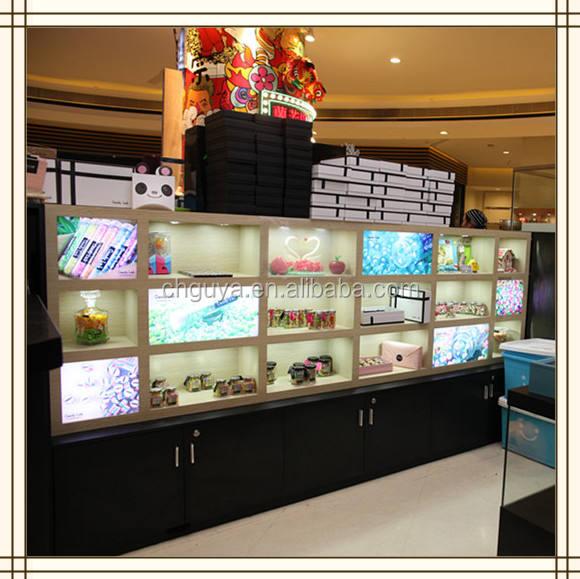 2016 de alta calidad supermercado caramelo de madera estante estante de exhibición con caja de dulces de acrílico