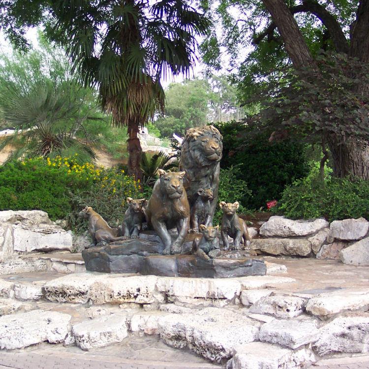 Parque temático de león y el tigre estatua de bronce escultura de arte del metal