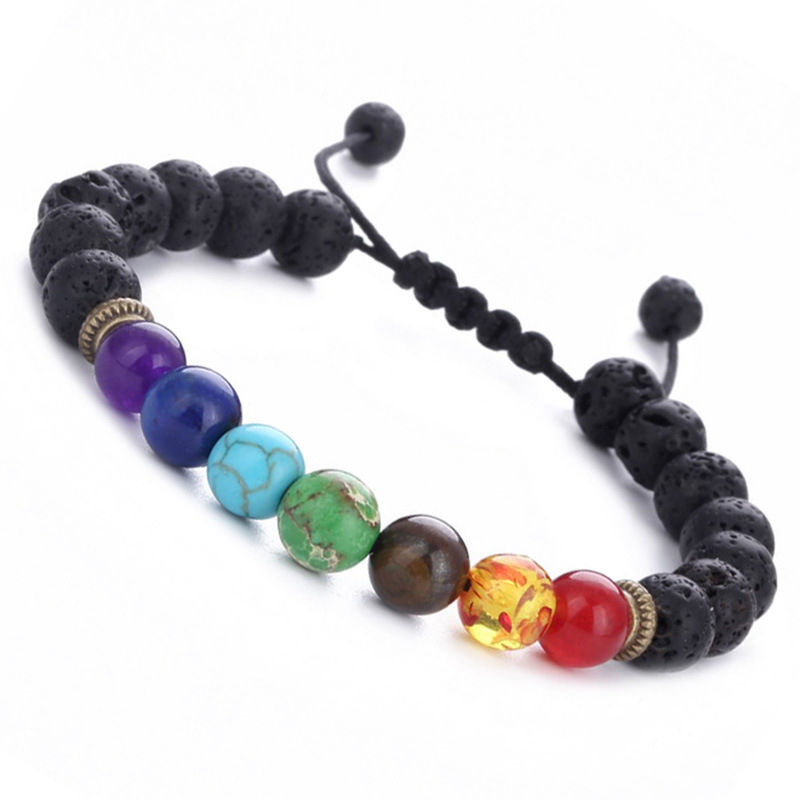 Buatan Tangan <span class=keywords><strong>Perhiasan</strong></span> 7 Chakra Natural 8 Mm Lava Rock Gemstone Gelang