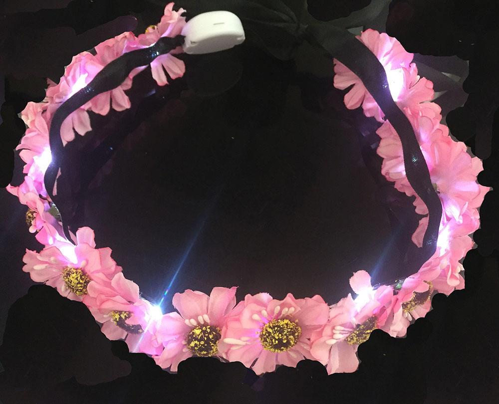 Piscando decoração do partido led flor coroa tiara