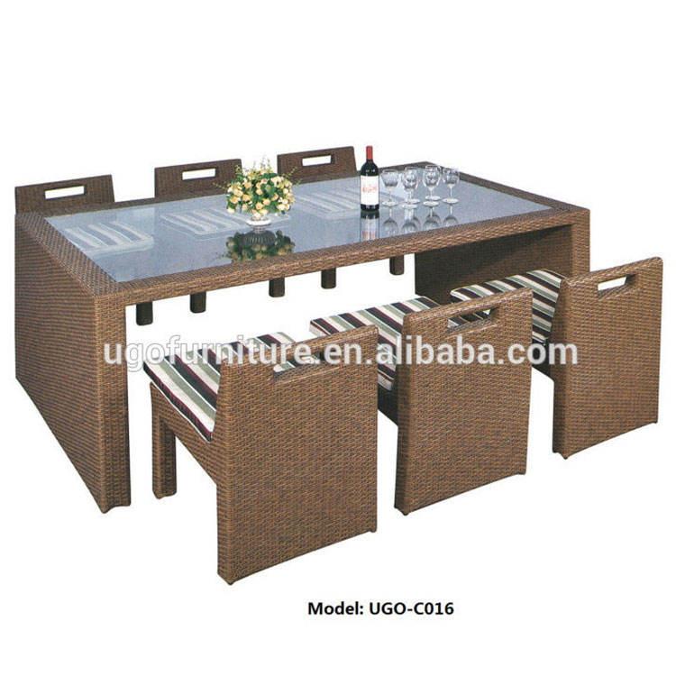 2018 Patio UGO de mimbre muebles usados de mimbre, mesa de comedor y silla con PE