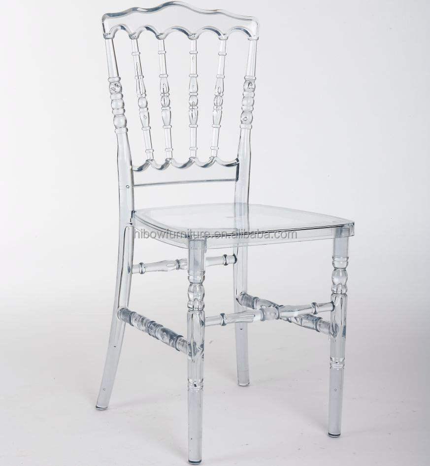 Transparente barato apilado acrílico Napoleón silla de la boda de plástico superiores rey Silla de compresión resistente al por mayor Silla de boda