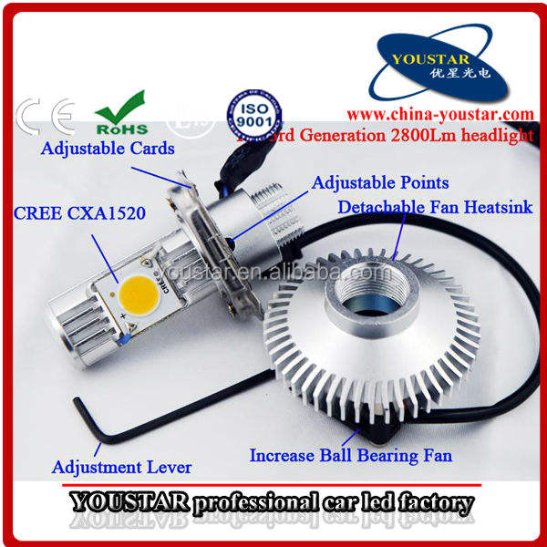 뜨거운 거래 12 볼트 cob 칩 5600LM 64 와트 CXA1520 크리 h4 오토바이 빛 c. r. e. 전자 h4 헤드 램프