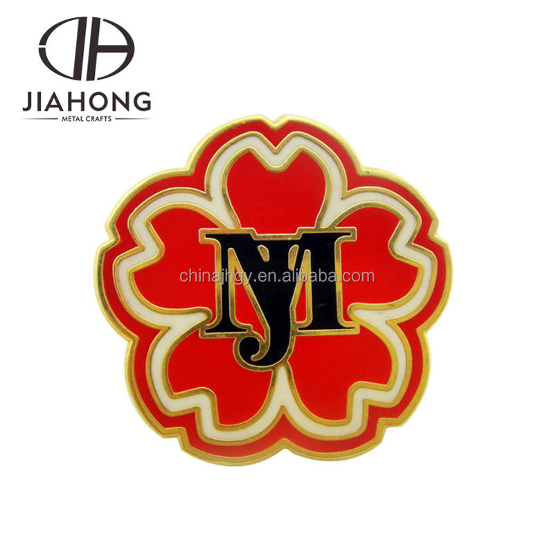 Сувенир использовать пользовательские металлический позолоченный цветок лацкан с логотипом