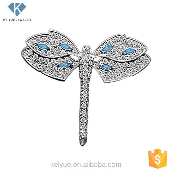 Símbolo broche de libélula com pedra azul jóias da china