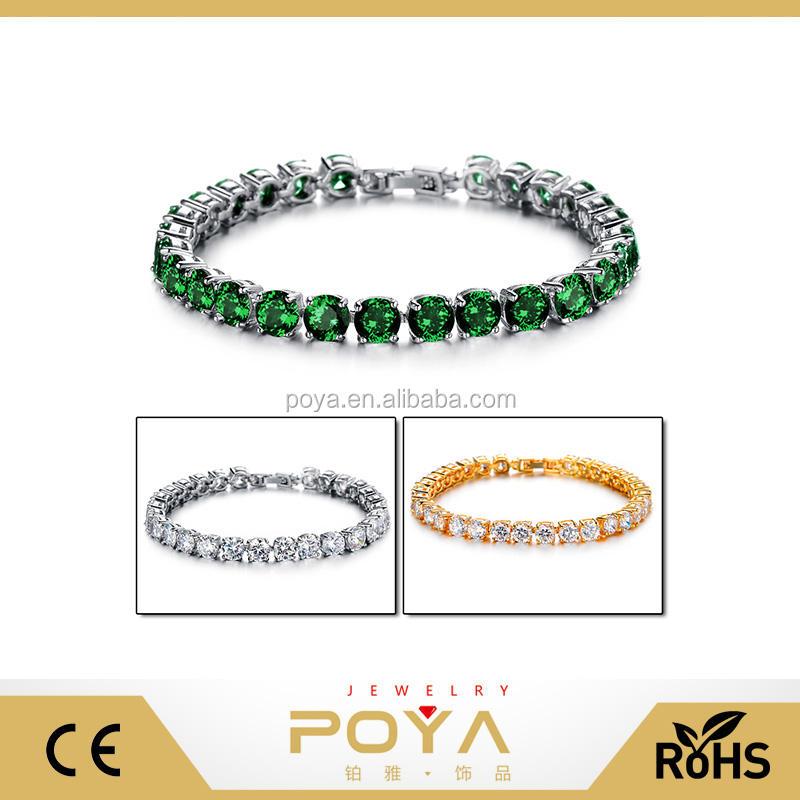 POYA Jóias Novas Mulheres Jóia de Bronze, várias Pulseiras de Cristal, branco/18 k Chapeamento de Ouro de Cobre Pulseira Pedra