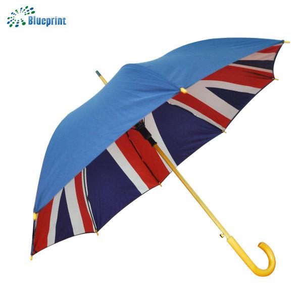 Reino Unido estilo OEM 23 pulgadas impresión mango de madera paraguas bastón
