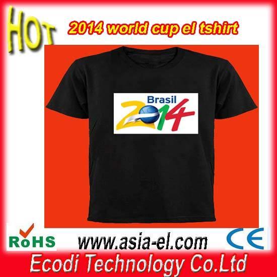 ¡Caliente!! Nuevo! 2014 Copa del Mundo de <span class=keywords><strong>ecualizador</strong></span> camiseta, camiseta que destella del <span class=keywords><strong>EL</strong></span>, <span class=keywords><strong>el</strong></span> tee