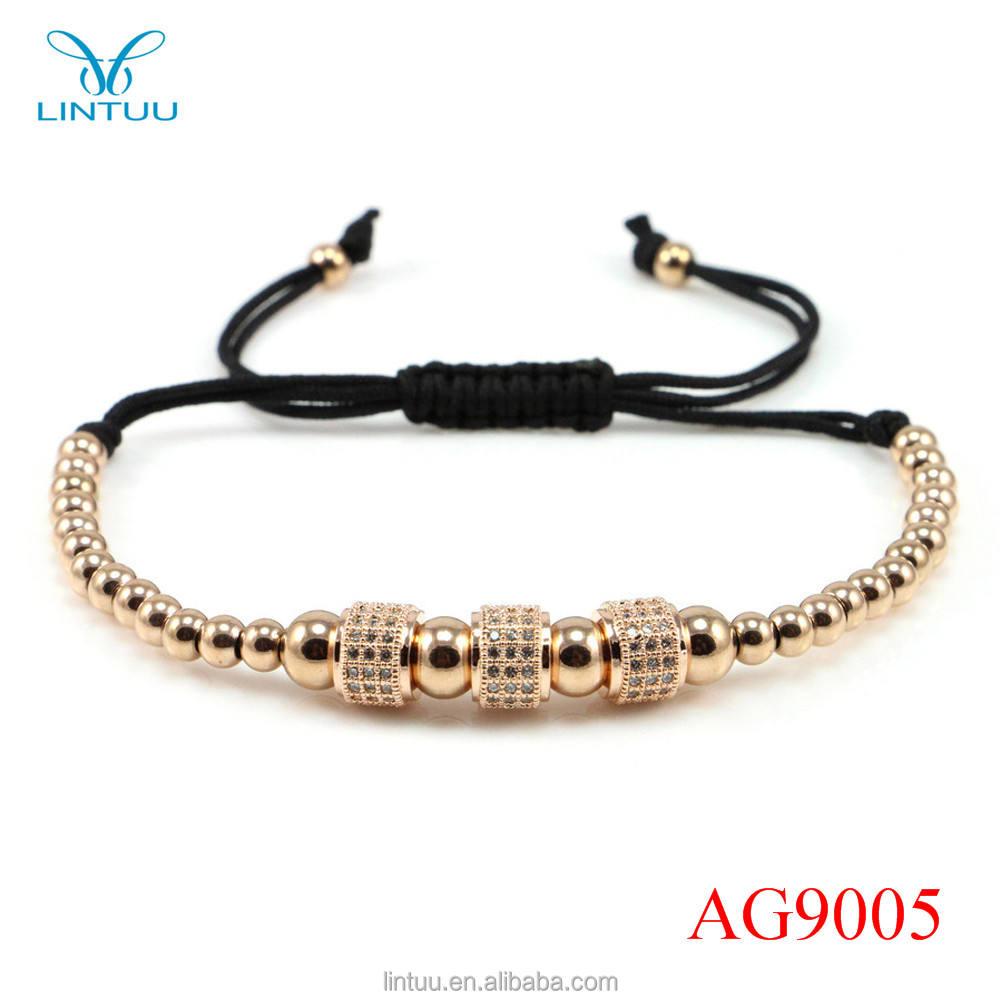 Vente chaude argent noir cordon micro bouchon de diamant perles macramé dentelle tissu bracelet pour les filles