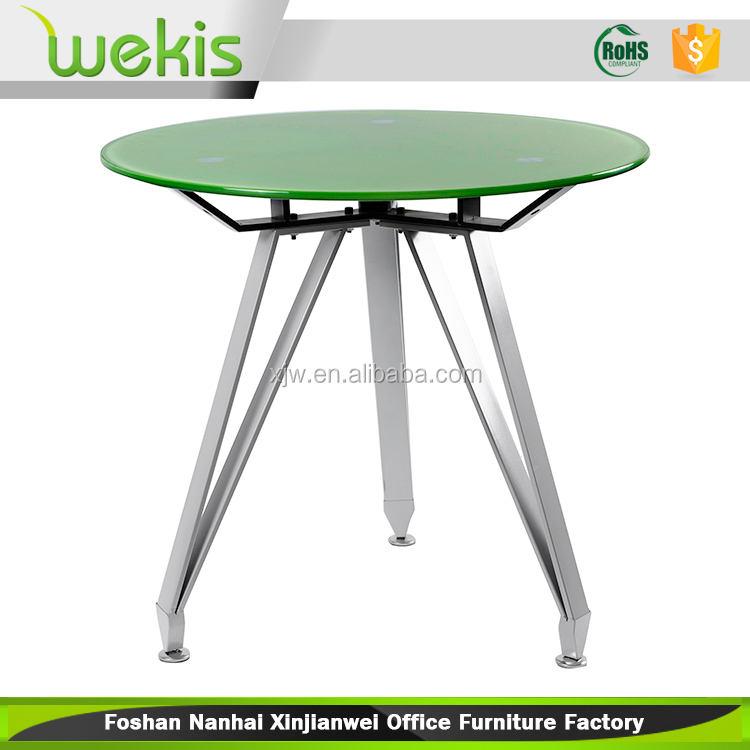 カスタマイズ安い小さなコーヒー円形のガラス折りたたみ式ダイニングテーブル
