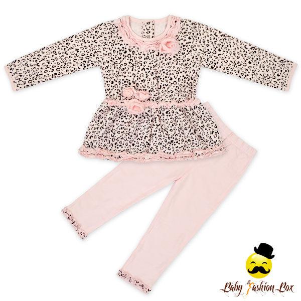 Леопардовый топ matchign длинные брюки из двух частей для маленьких девочек осень наряд