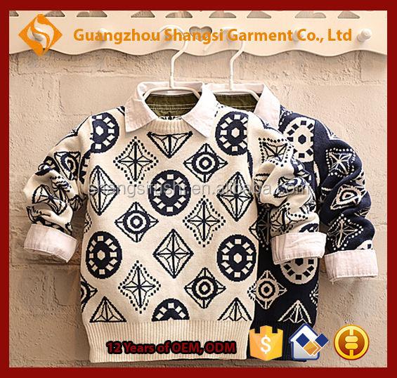 Дети 5GG геометрические печати шею пуловер с длинным рукавом ребра снизу свитер