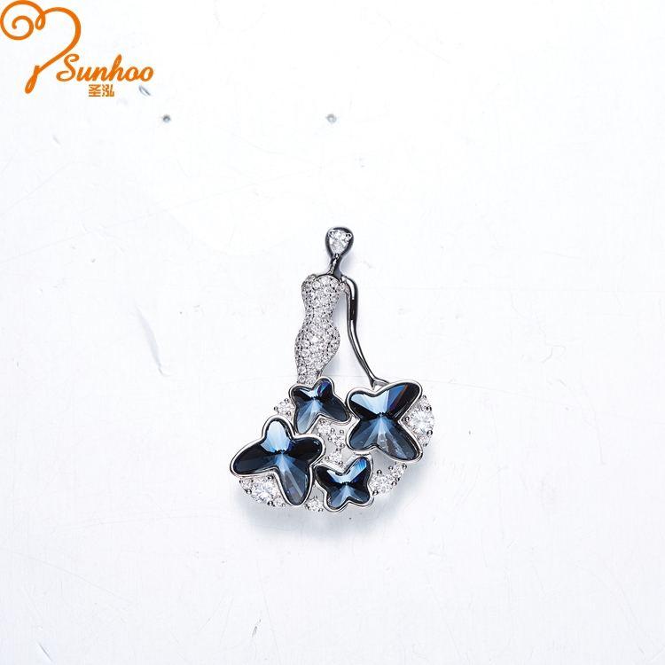 Sunhoo série borboleta broche de fantasia com brilho de cristal