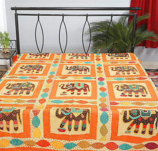 индийский простыню лоскутное слон дизайн покрывала ручной работы
