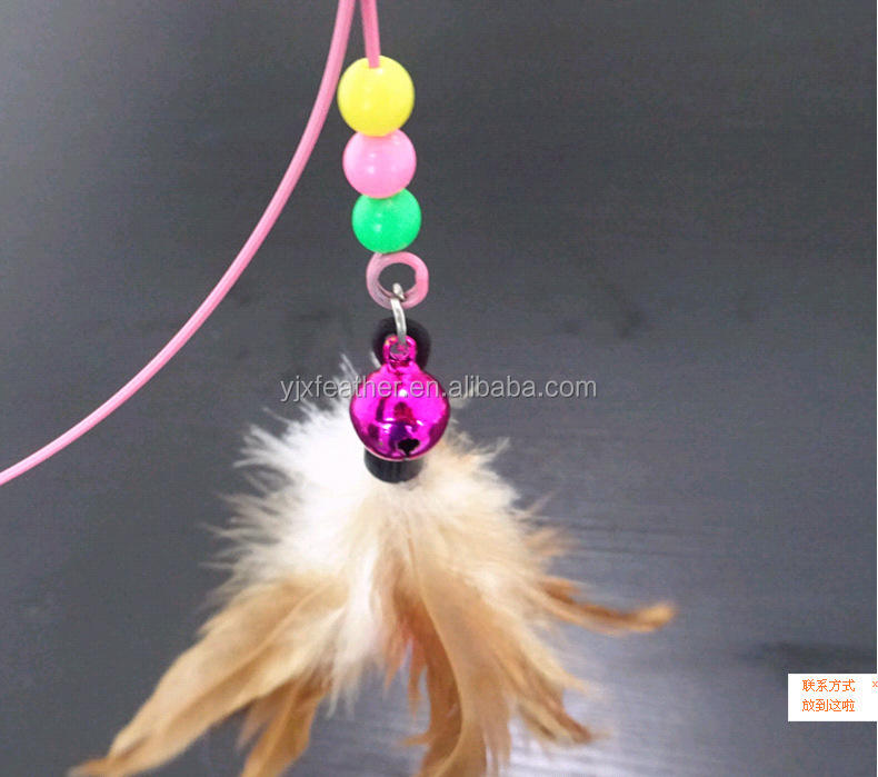 Mascota gato juguete lindo diseño pluma teaser Wand juguete de plástico para gatos color multi productos para mascotas