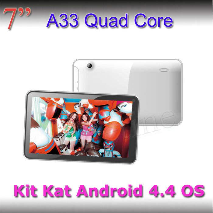 Más barato 2014 7 a33 pulgadas android 4.4 quad core os tablet pc simple o doble cámara opcional mediados de