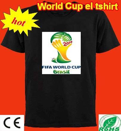 Activado por sonido t- shirt flash camiseta 2014 con la copa del mundo el logotipo de camisa el t