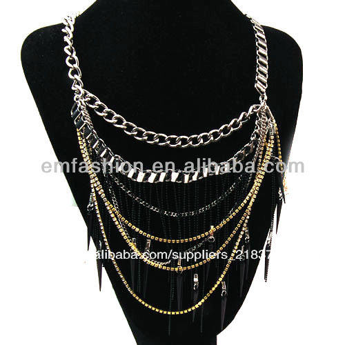 caliente venta de moda de diamantes de imitación nuevo punk picos chunky borla de la cadena collar