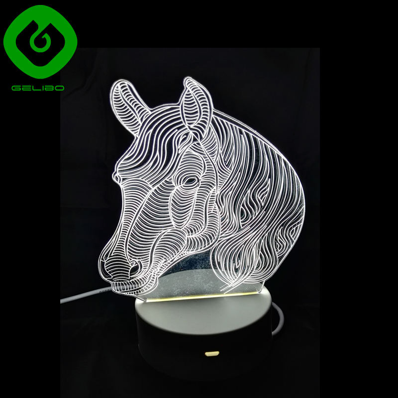 Creative new Item 3D LED night light for wedding decoration, 3D night lamp with touch screen button